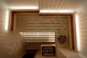 759 дизайн проект отделки сауны из липы, каменка HARVIA