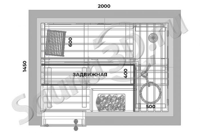 чертеж Дизайн проект 760 внутренней отделки сауны в квартире. Недорогая электрокаменка HARVIA The Wall 6 кВт. Дверь стеклянная, самая узкая