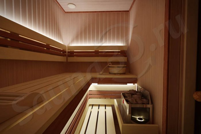 Дизайн проект 760 внутренней отделки сауны в квартире. Недорогая электрокаменка HARVIA The Wall 6 кВт. Дверь стеклянная, самая узкая