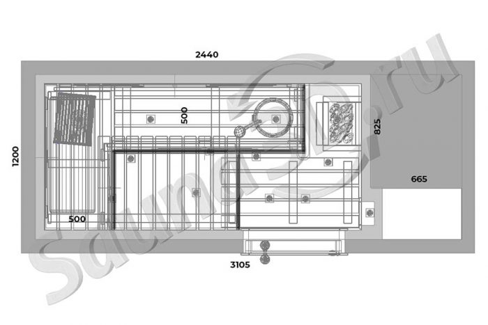 чертеж план 763 дизайн сауны из кедра в квартире, печь HARVIA Combinator