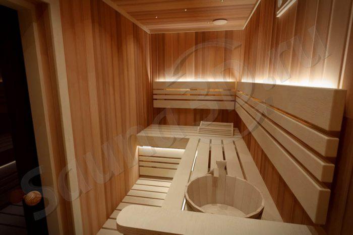 763 дизайн сауны из кедра в квартире, печь HARVIA Combinator