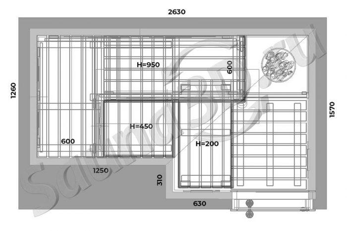 чертеж план 764 проект сауны в коттедже, гималайская соль и можжевельник