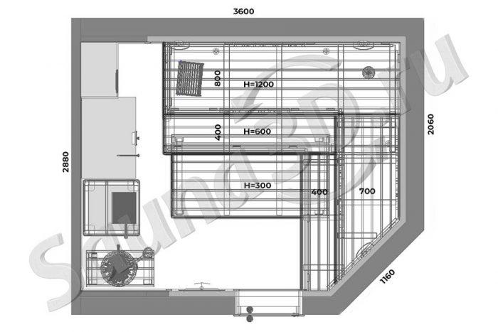 чертеж план 765 дизайн проект бани из термоосины печь из талькохлорита