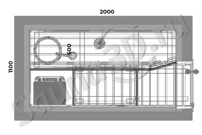 чертеж план 767 проект сауны в квартире, липа, печь с парогенератором