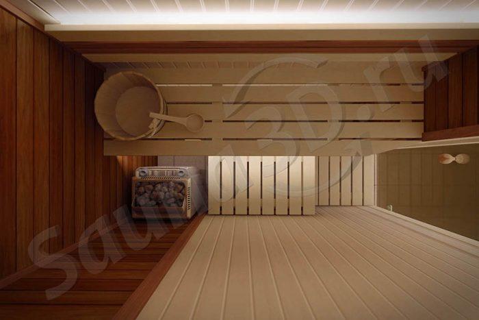 767 проект сауны в квартире, липа, печь с парогенератором
