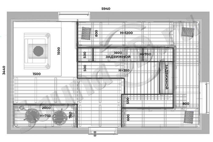 чертеж план 770 дизайн проект бани из канадского кедра с кирпичной печью