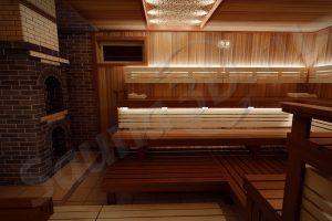 770 дизайн проект бани из канадского кедра с кирпичной печью