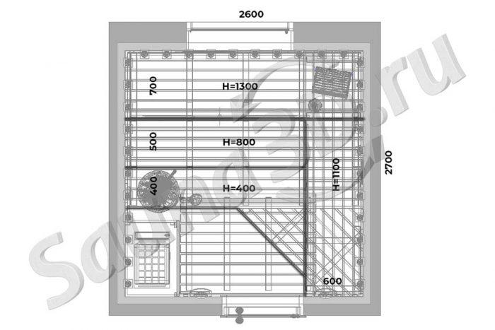 чертеж план 773 дизайн электро сауны из кедра в загородном, каменка EOS