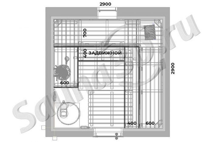 чертеж план 775 дизайн проект бани из ольхи дровяная печь AITO AK57