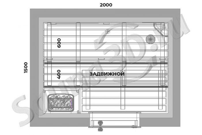 чертеж план 776 дизайн проект сауны в квартире, печь HARVIA Trendi KIP