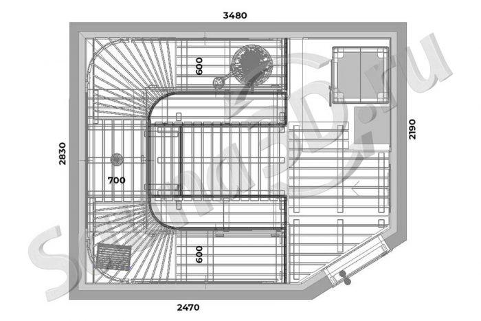 чертеж план 777 дизайн проект бани из кедра, облицовка печи из змеевика