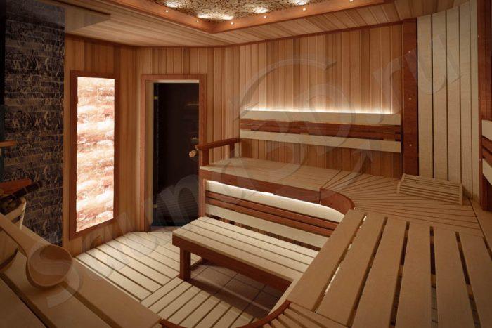 777 дизайн проект бани из кедра, облицовка печи из змеевика