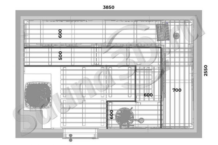 чертеж план 779 дизайн проект бани из кедра дровяная печь KASTOR SAGA плитка TULIKIVI