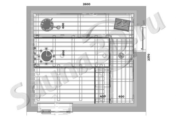чертеж план 784 дизайн сауны из кедра в загородном доме, печь IKI Pillar, спилы можжевельника