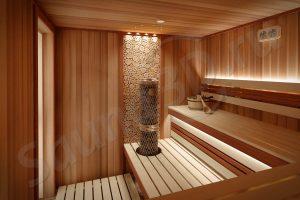 784 дизайн сауны из кедра в загородном доме, печь IKI Pillar, спилы можжевельника
