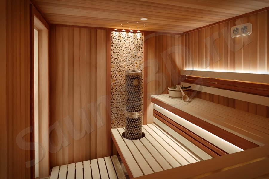 784 дизайн сауны из кедра в загородном доме, печь IKI Pillar