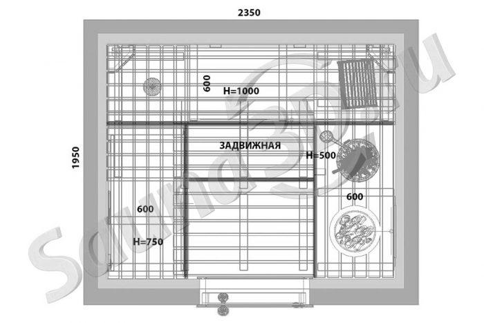 чертеж план 786 дизайн сауны из кедра в таунхаусе, гималайская соль