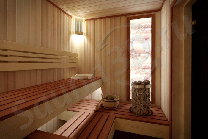 786 дизайн сауны из кедра в таунхаусе, гималайская соль