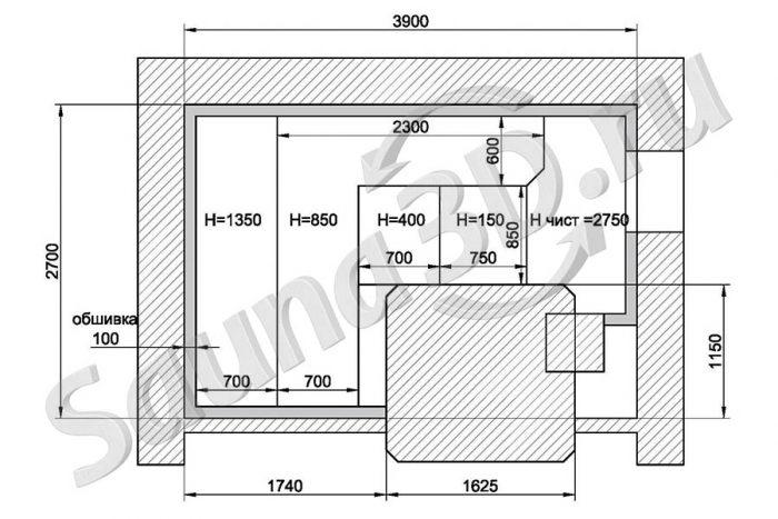 чертеж план 790 дизайн проект бани из канадского кедра с кирпичной печью гималайская соль