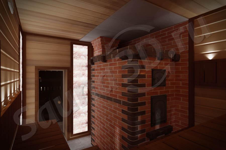 790 дизайн проект бани из канадского кедра с кирпичной печью