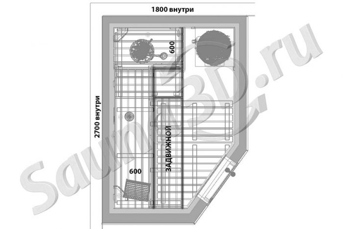 чертеж план 791 дизайн щитовой проект бани из ольхи с HARVIA LEGEND 150