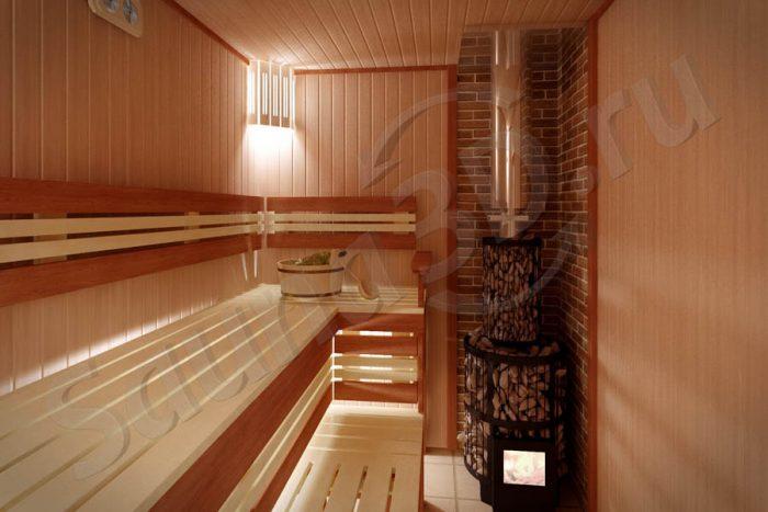 791 дизайн щитовой проект бани из ольхи с HARVIA LEGEND 150
