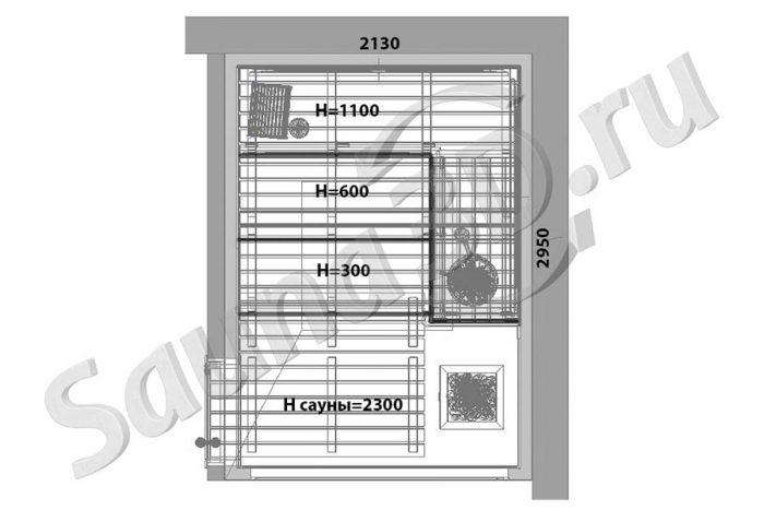 чертеж план 792 дизайн cауны из термоосины в коттедже, каменка TULIKIVI, стеклянный фасад в сауне