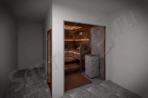 792 дизайн cауны из термоосины в коттедже, каменка TULIKIVI, стеклянный фасад в сауне