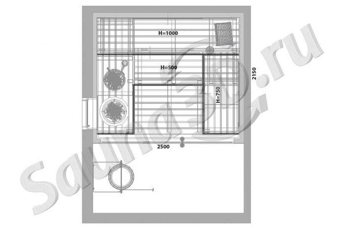 чертеж план 793 проект cауны из ольхи в загородном доме, печь TULIKIVI naava, стеклянный фасад