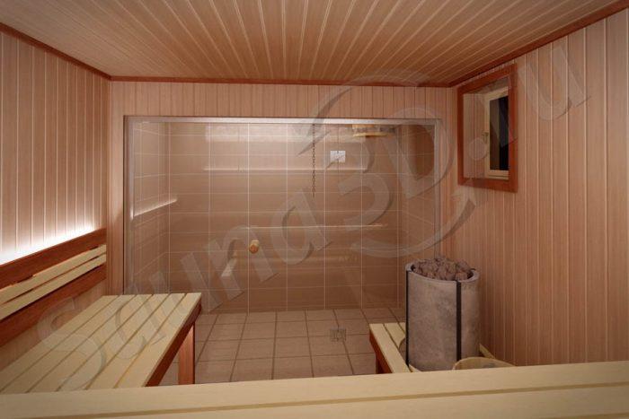 793 проект cауны из ольхи в загородном доме, печь TULIKIVI naava, стеклянный фасад