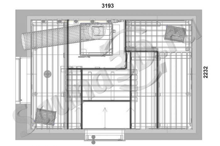 чертеж план 799 дизайн бани из ольхи с печью из талькохлорита