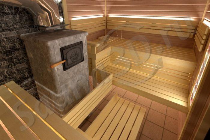 799 дизайн бани из ольхи с печью из талькохлорита