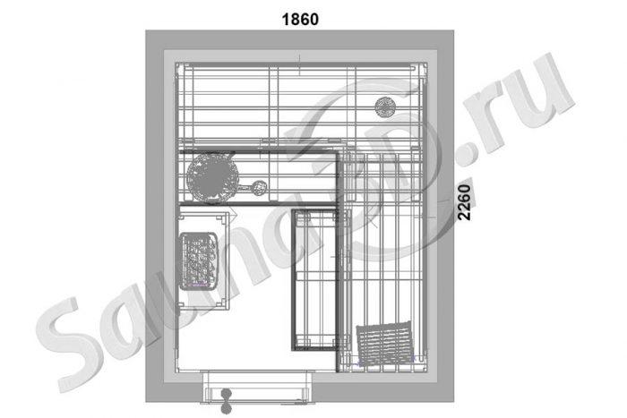 чертеж план 800 проект cауны в загородном доме, каменка HARVIA Trendi