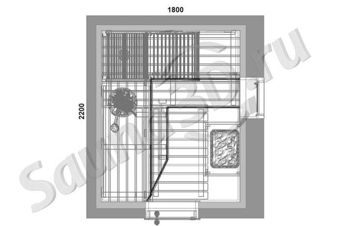 чертеж план 801 дизайн сауны из кедра с шезлонгом, печь HARVIA Senator