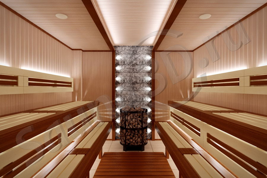 802 дизайн проект сауны в фитнес клубе, печь HARVIA LEGEND