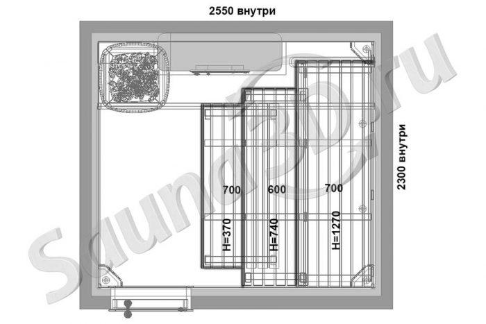 чертеж план 803 дизайн проект бани двумя каменками HELO и кирпичная печь