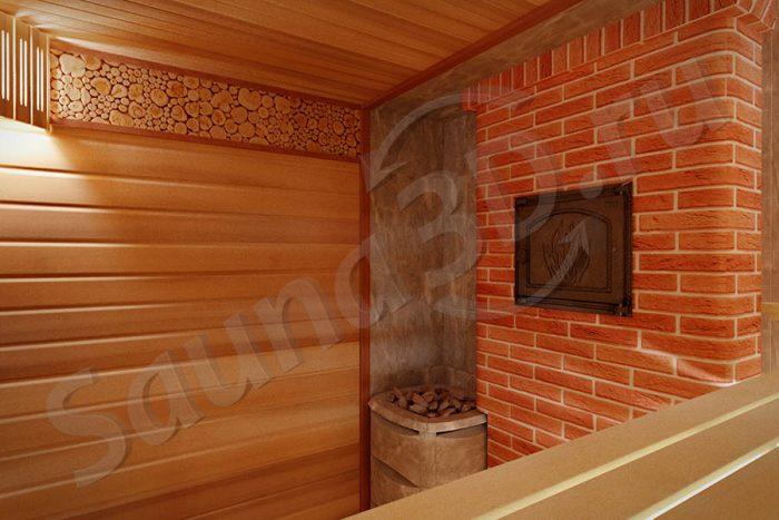 803 дизайн проект бани двумя каменками HELO и кирпичная печь