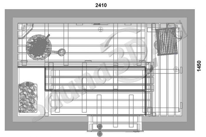 чертеж план 804 дизайн сауны в квартире, бюджетная печь HARVIA The Wall