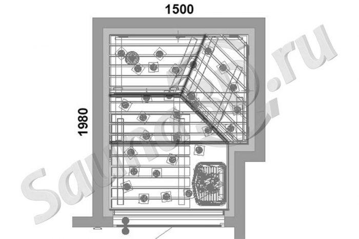 чертеж план 805 дизайн сауны в квартире, TYLO Sense с парогенератором