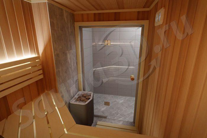 805 дизайн сауны в квартире, TYLO Sense с парогенератором