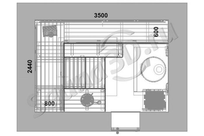 чертеж план 806 проект бани из бревен дровяная печь для русской бани