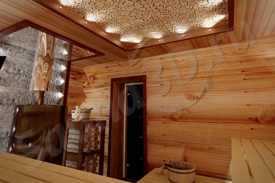 806 проект бани из бревен дровяная печь для русской бани