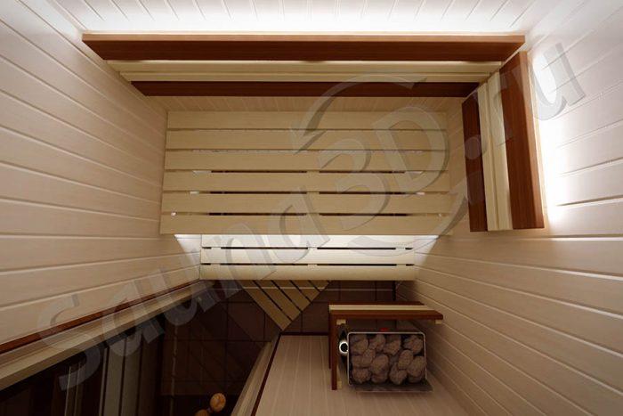 808 дизайн проект из липы в квартире , печь HARVIA The Wall