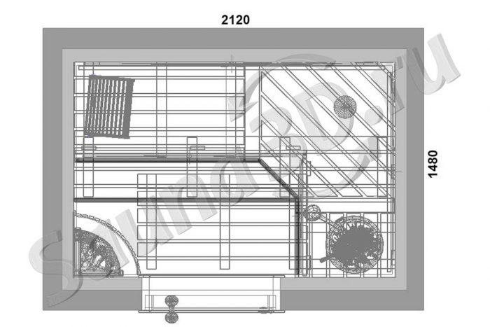 чертеж план 810 дизайн проект из канадского кедра, печь IKI Corner