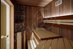 810 дизайн проект из канадского кедра, печь IKI Corner