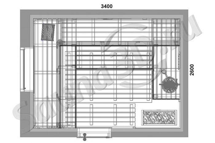 чертеж план 811 дизайн проект из канадского кедра, печь HARVIA VIRTA PRO