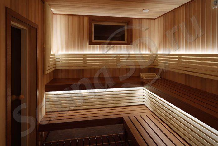 811 дизайн проект из канадского кедра, печь HARVIA VIRTA PRO