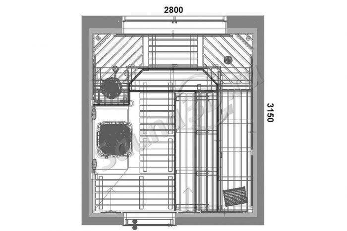 чертеж план 812 проект мрачной бани из термоосины дровяная печь KASTOR
